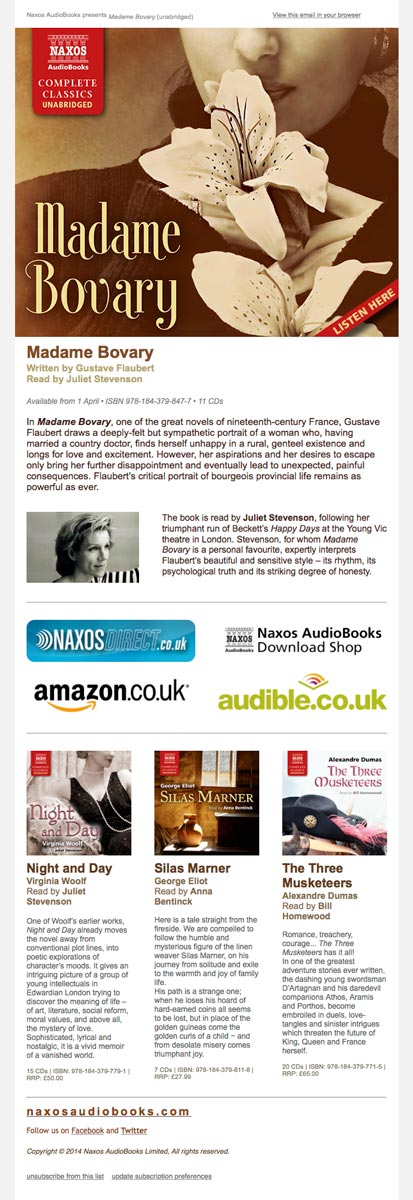 Naxos AudioBooks e-Newsletter