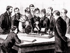 Thomas Edison demonstrates his phonograph at his laboratory, March 1878